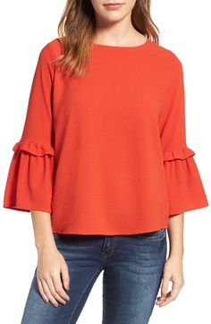 Free shipping and returns on Gibson Ruffle Sleeve Top (Regular & Petite) at Nordstrom.com. A girly-sweet top with everyday ease, this lightly textured style charms with a tied keyhole cutout in back and flouncy ruffled sleeves.