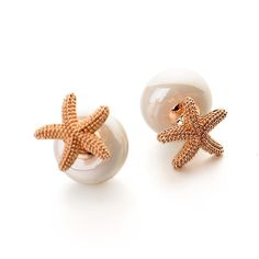Sea Star Pearl Double Sided Front and Back Stud Earrings