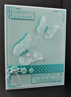 Inky Fingers: Papertrey Ink birthday card  Love the monochromatic look of this card and the double layer vellum embossed butterflies. Love Love!