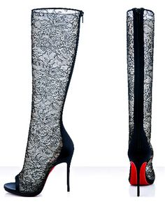 #Louboutin tall lace boots Boots #2dayslook #Boots style #BootsfashionBoots www.2dayslook.com