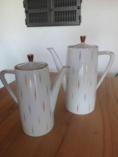 """2 Kaffeekannen 21 cm + 24 cm Seltmann Weiden Bavaria """"Monika"""" Goldrand 60er"""