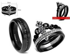 HIS BLACK CZ TITANIUM AND HER BLACK CROWN STAINLESS STEEL CZ WEDDING RING SET