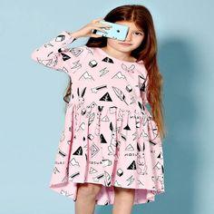 Milk & Masuki Long Sleeve Dress Wonderland in Pink Stylish Clothes For Girls, Stylish Girl, Tutus For Girls, Cute Girls, Funky Dresses, Cute Girl Outfits, Dress For You, Short Sleeve Dresses, Long Sleeve