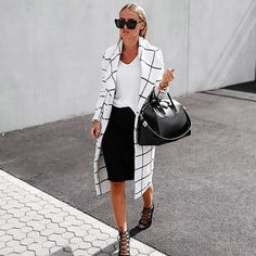 A T-Shirt, Pencil Skirt, Statement Jacket, and Lace-Up Shoes | 80 Outfits to Try When You