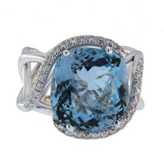 Jona design collection, hand crafted in Italy, 18 karat white gold, stunning aquamarine and diamond Treillage cocktail ring.
