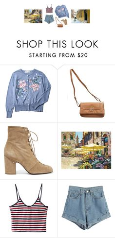 """""""Trip to the Flower Market"""" by zlata ❤ liked on Polyvore featuring Tory Burch, Laurence Dacade, WithChic, denim, denimshorts and croppedTop"""