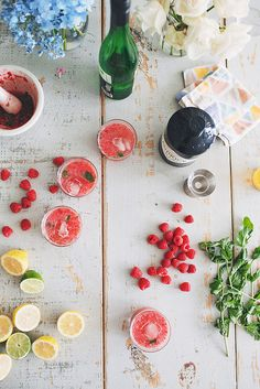 lemon lime raspberry vodka vino mint - what's not to love
