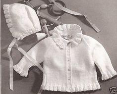 Vintage Baby Knit Ruffle Sweater Hat Pattern Sz 1 2 3
