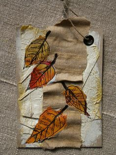 love the painted pages and ripped leaves, mini maker, or sewing: Tea Bag Art, Fabric Postcards, Atc Cards, Encaustic Art, Small Art, Leaf Art, Artist Trading Cards, Textile Artists, Art Plastique