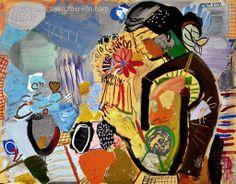 """EXPRESSIONISMUS  Jose Manuel Merello.- """"Mujer y Florero. El Alba""""  //  """"Woman with vase. Dawn."""" (81x100 cm) Mix Media on Canvas.  Spanischen Kunst. Spanischen Maler. Zeitgenössische Kunst. Spanische Künstler Maler. http://www.merello.com"""