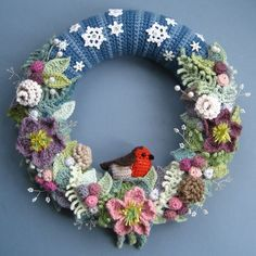 Winter Wreath by Attic24. Love, love, love! Links for patterns in post.