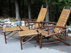 Old Hickory leanback lounge chairs with attached ottomans: Christibys SOLD Old Hickory Furniture, Rustic Furniture, Antique Furniture, Cabin Porches, Little Cabin, Trading Post, Lodge Decor, Cabins In The Woods, Guy Stuff