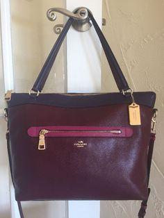 5dba86034 Coach F57210 Colorblock Leather Tyler Tote Burgundy Aubergine Multi $425 |  eBay Outlet Coach, Carteras