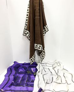 (TOP) Title:Fendi Signature Logo Brown Silk Scarf w/white and gold  Price:was $54.99 now $49.49 until 5/29 Item #:9447-16 (Bottom left) Title: Purple Silk Scarf with 'F E N D I'  Price:was $39.99 now $29.99 until 5/29 #22340-5  Title: Fendi Gray silk scarf NWT W/ 'F E N D I' Price: was $49.99 now $37.49 #222340-6 Location: Buckhead To purchase call  770.390.0010 ex 1  #alexissuitcase #buckhead #atl #atlantaconsignment #thriftatl #resale #highenddesigner #consignment #luxury #designer…