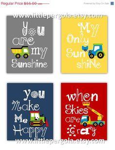 SALE 30% OFF Ten Day SALE Construction Art for Kids, You are my sunshine Art Prints Construction Vehicles, 4-8x10 prints, Boy or Girl Nurse