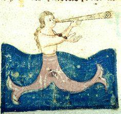 Mermaid blowing horn, Morgan Library, MS M.459 fol. 8r, Detail,