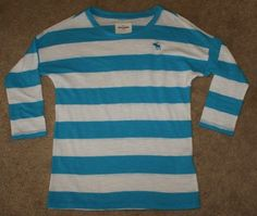 abercrombie kids blue & white striped shirt, 3/4 length sleeves, girls size M #AbercrombieFitch