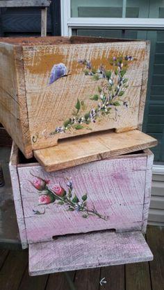 My painted bee boxes Honey Bee Box, Honey Bee Hives, Honey Bees, Bee Hives Boxes, Bee Boxes, Beehive Design, Bee Facts, Bee Pictures, Backyard Beekeeping
