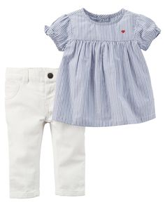 0ebacf0eef Baby Girl 2-Piece Striped Poplin Top  amp  Heart Denim Pant Set