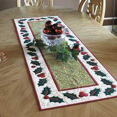 Christmas table runner--holly border More