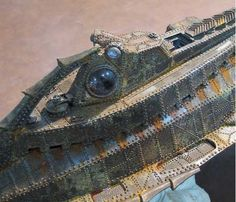 Jules Verne's Submarine Nautilus as visualized by Harper Goff in the 1954 Disney film 20,000 Leagues Under the Sea. Based on circa 1868 technology.