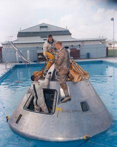 S66-50171 September 1, 1966 original Apollo 204 backup crew (McDivitt, Scott, Schweickart) during water egress training Ed Hengeveld
