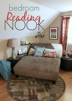 Inspiring small spaces - my reading nook idea - recreating a small space under an eave in our Cape style home was a challenge! See how I added more functionality to our bedroom with these warm and inviting decor items!