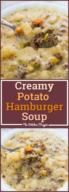 Creamy Potato and Hamburger soup! You can make it in the crockpot or stove top! From @kitchenmagpie #hamburgersoup #slowcooker #crockpot #potatosoup