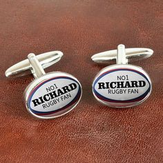 Personalised cufflinks with a highly polished chrome finish and in a rugby ball design! Can be personalised with recipient's name. Please fill in the personalisation field on the right. Please note that due to the personalised nature of these cufflinks they cannot be dispatched for 1-2 working days. Express orders placed before 2pm will be dispatched on a next day service the following working day.