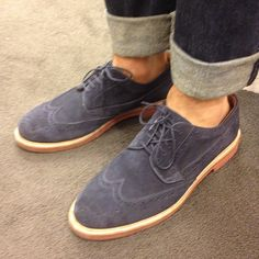 Kenton Suede Wing Tip Shoes by JCREW