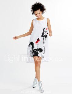 Ample Robe Femme Décontracté / Quotidien Grandes Tailles Vintage,Imprimé Asymétrique Mi-long Sans Manches Bleu Rouge Blanc Gris Coton Eté de 5137078 2017 à €12.60