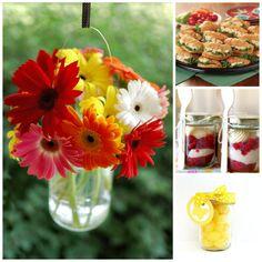 red & yellow gerbera daisies in a mason jar - Google Search