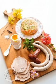 Photo about Easter breakfast on board. Sausage and egg. Image of gourmet, snack, yellow - 42081816 Sausage And Egg, Tortellini, Hummus, Camembert Cheese, Food And Drink, Cooking Recipes, Easter, Snacks, Meals