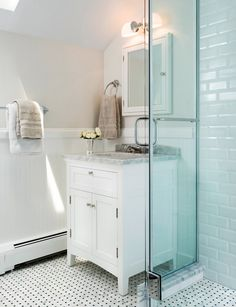 I like this vanity if we have to have a single stand alone.   classic bathroom // white subway tile