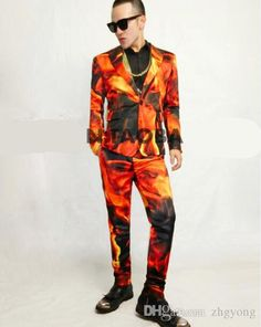 Image result for mens printed fire on suit