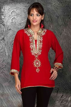 Red Georgette 3/4 sleeves Kurti/Tunic with bead and lace work