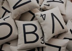 Scrabble pillow- Too bad E's are only 1 point...