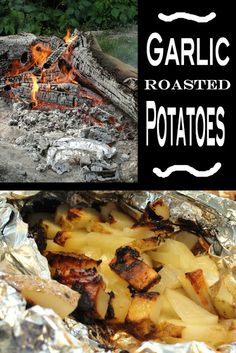 Per serving: Dice up one potato, 1/2 an onion, 2 cloves chopped garlic and 1 tbs olive oil.  Wrap up in foil and toss onto the coals (see first photo, bottom right). Bake on the coals for about 25 min or until your desired crispness.