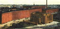 Larkin Administration Building / 680 Seneca Street, Buffalo, NY / 1906 / Frank Lloyd Wright -- This building for a mail order company stood from 1903 to 1950. The site was Seneca at Larkin, just south of where Seymour and Swan streets meet, just east of a railroad turntable. A building pier is still at the site, and sometime during 1997 the outline of the original footprint of the building had been painted on the parking lot.
