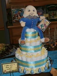 Humpty Dumpty Diaper cake centerpiece made by Grandma to Be