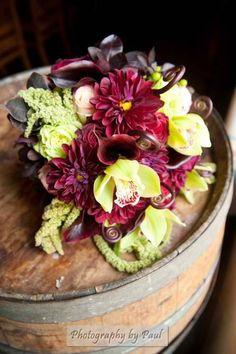 www.flowerhillflowers.com #fhflowers #pradobalboapark #weddings #greenburgundyweddingflower