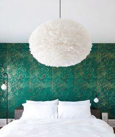 green statement wallpaper + lighting
