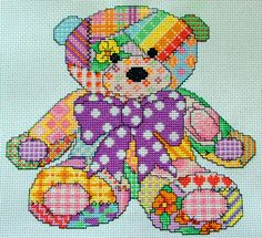 Another great pattern!  Cute Patchwork Teddy Bear Cross Stitch Pattern by Chartsandstuff