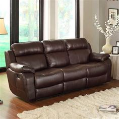 Sofa Table Merille Brown Wood Microfiber Double Reclining Sofa w Cup Holders