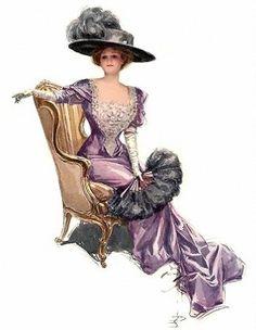 Lady in purple... ~ Illustration by Harrison Fisher ~ (vintage lady, edwardian era, style, fashion, dress, hat)