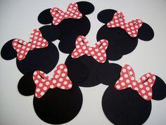 12 Minnie Mouse Heads with Red Polka Dot Bow by sparklebystephanie, $3.00