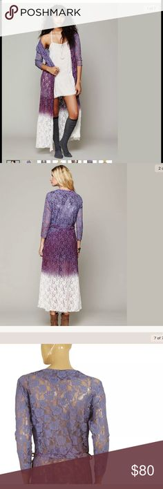 Free People Lace Floral Wrap❤️1HOUR SALE 46 inch. Tie dye print. Floral mesh print all over the dress.S .GREAT Condition. It is S but  M would fit easily. Bust is 21 inches. Lmk if you need any measurement Free People Dresses Long Sleeve
