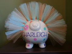 GIRLS Jumbo Personalized Piggy Bank by ByJusteenCrafts on Etsy