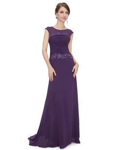 Ever Pretty Women's Trailing Ruched Long Bridesmaid Party Dress 10UK Dark Purple
