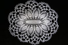 Oval 12 x 15 inch white pineapple doilyOblong by JustCrocheting, $17.00